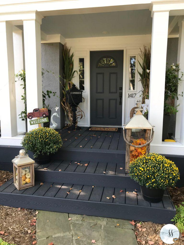 fall porch, fall decor, fall front entrance, fall planters, fall window boxes
