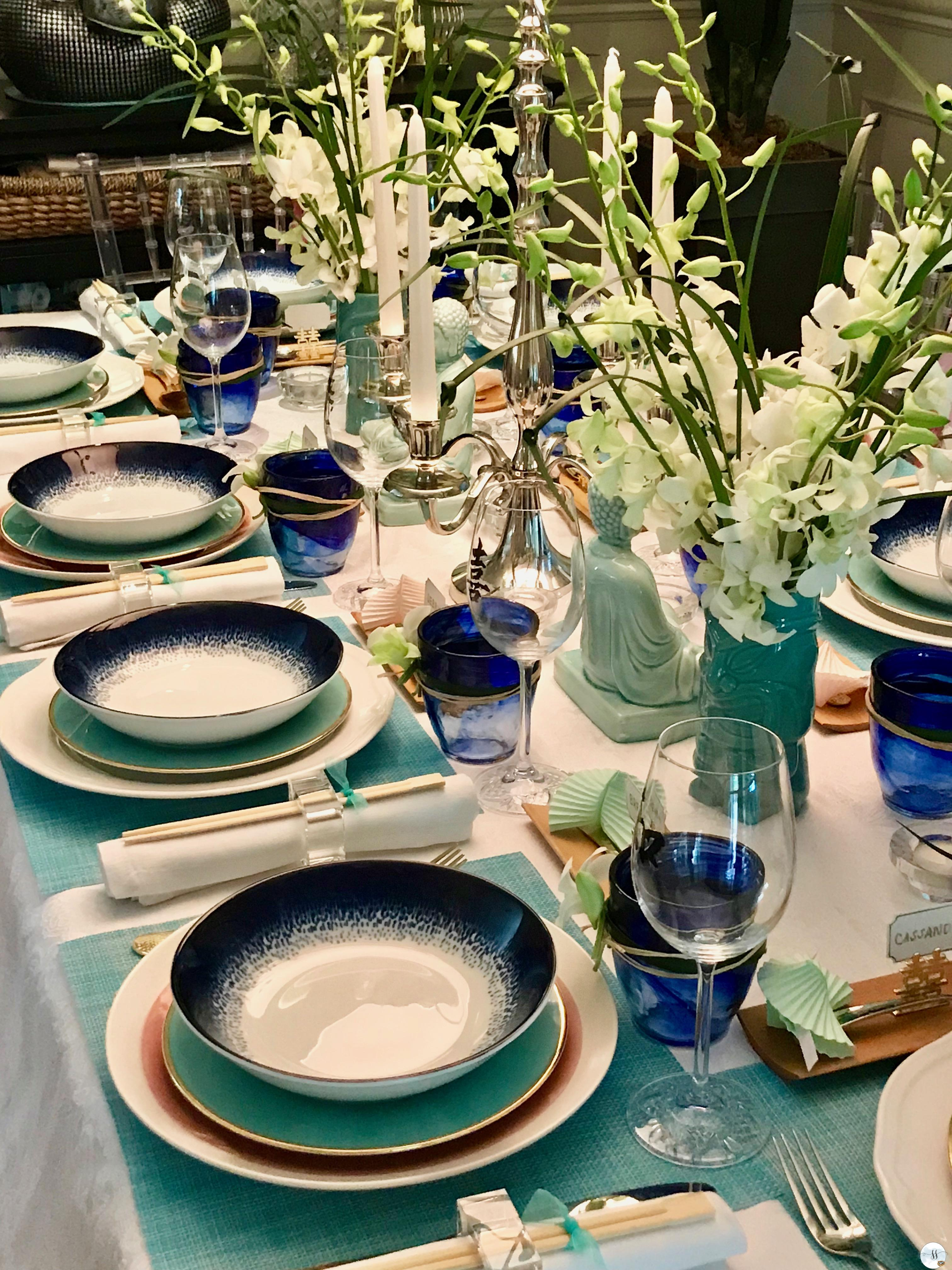 Beautiful blues and greens inspired this Asian themed bridal shower.