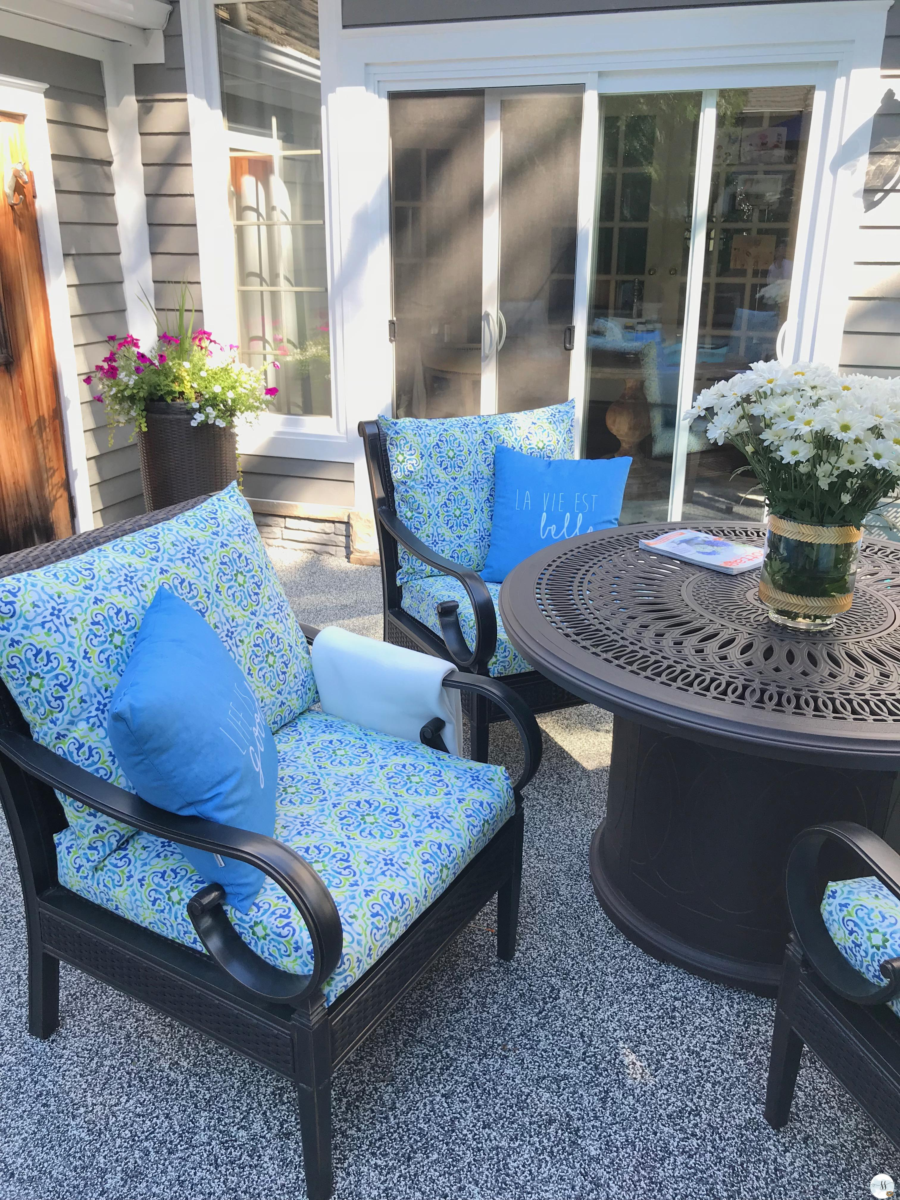 Aluminum patio/wicker patio furniture and gas fire pit table.
