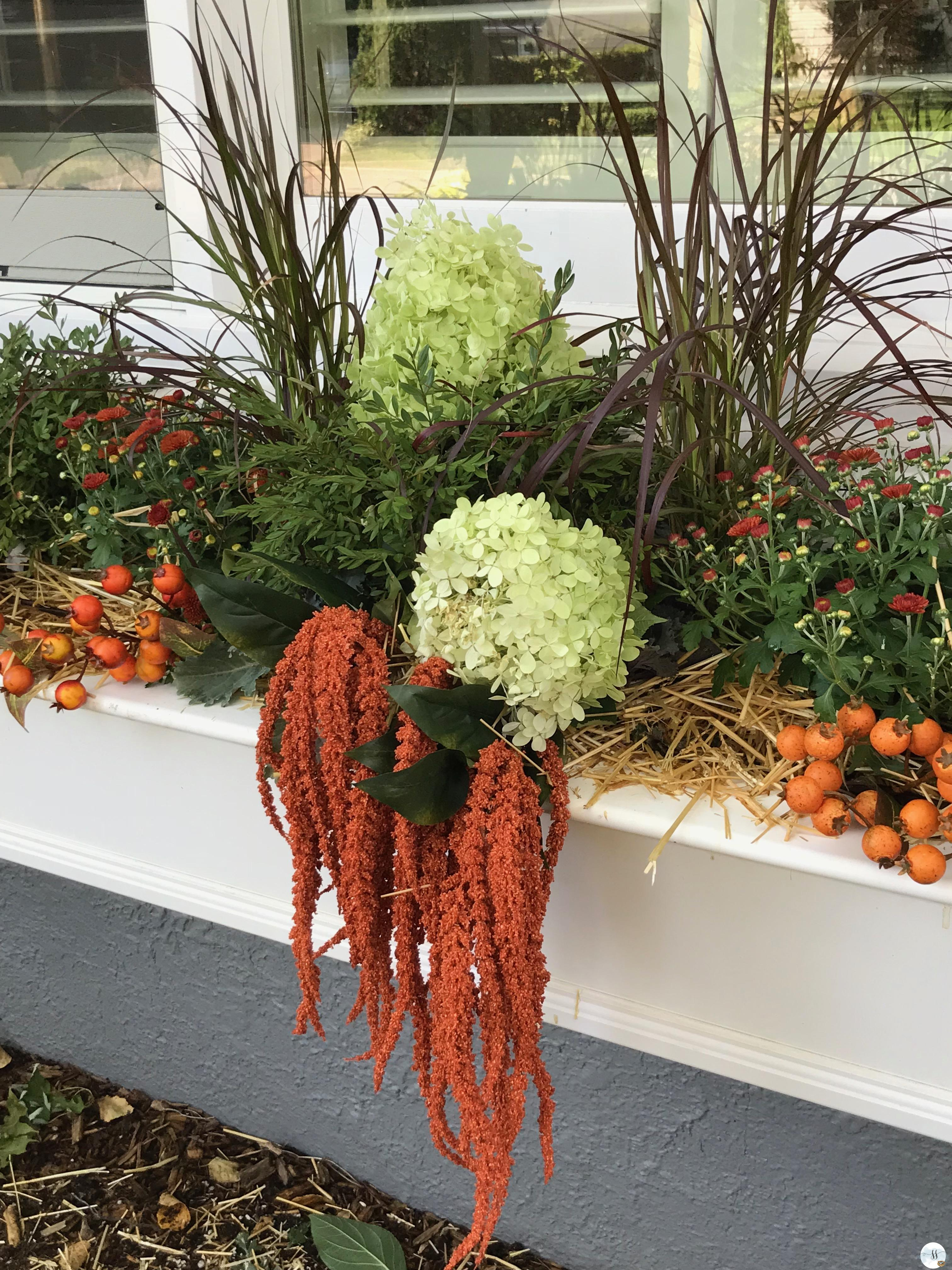 fall decor, better homes and garden, outdoor gardens, window boxes, planters, faux flowers