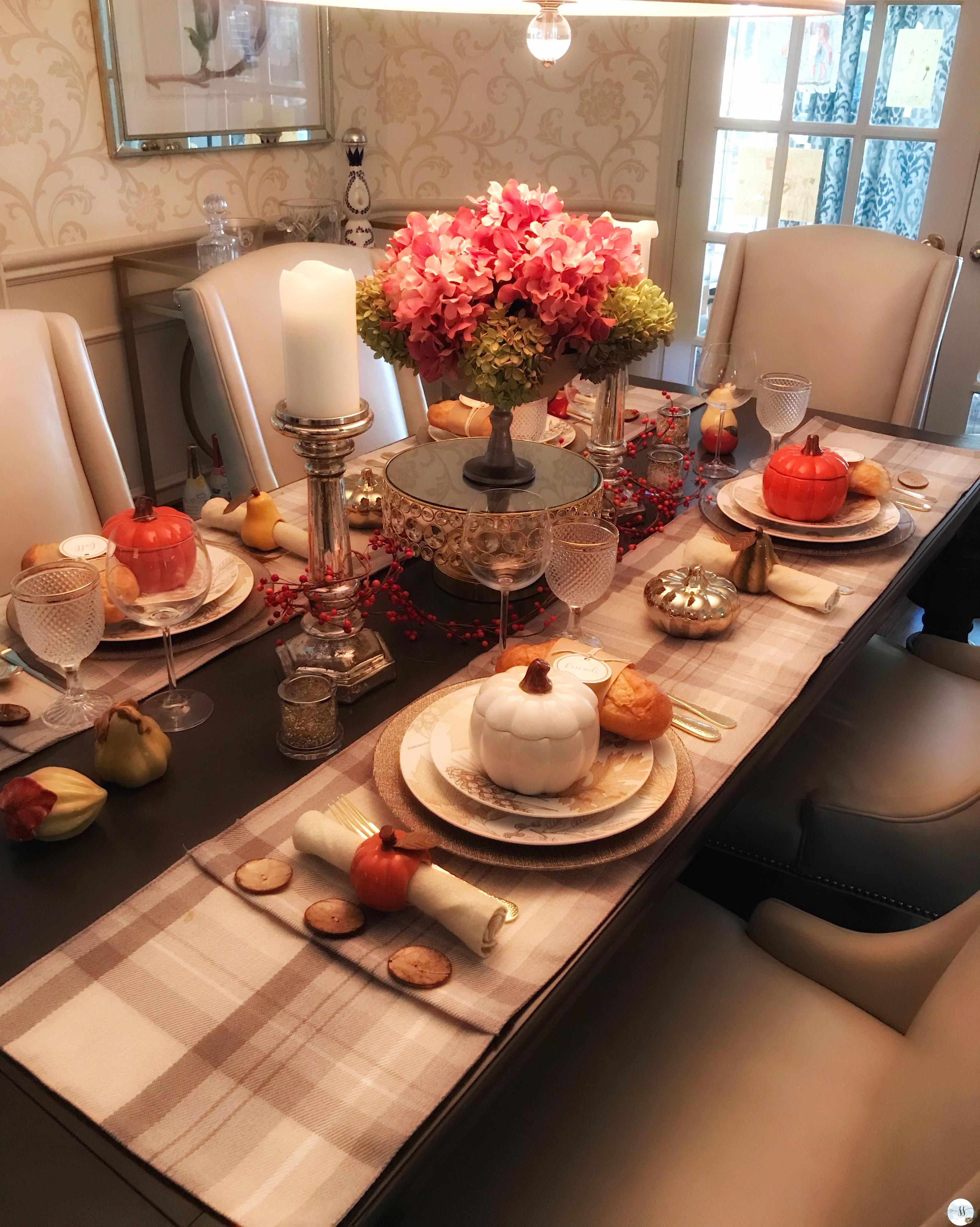 fall table scapes, fall decor, better homes and gardens, fall dining room table