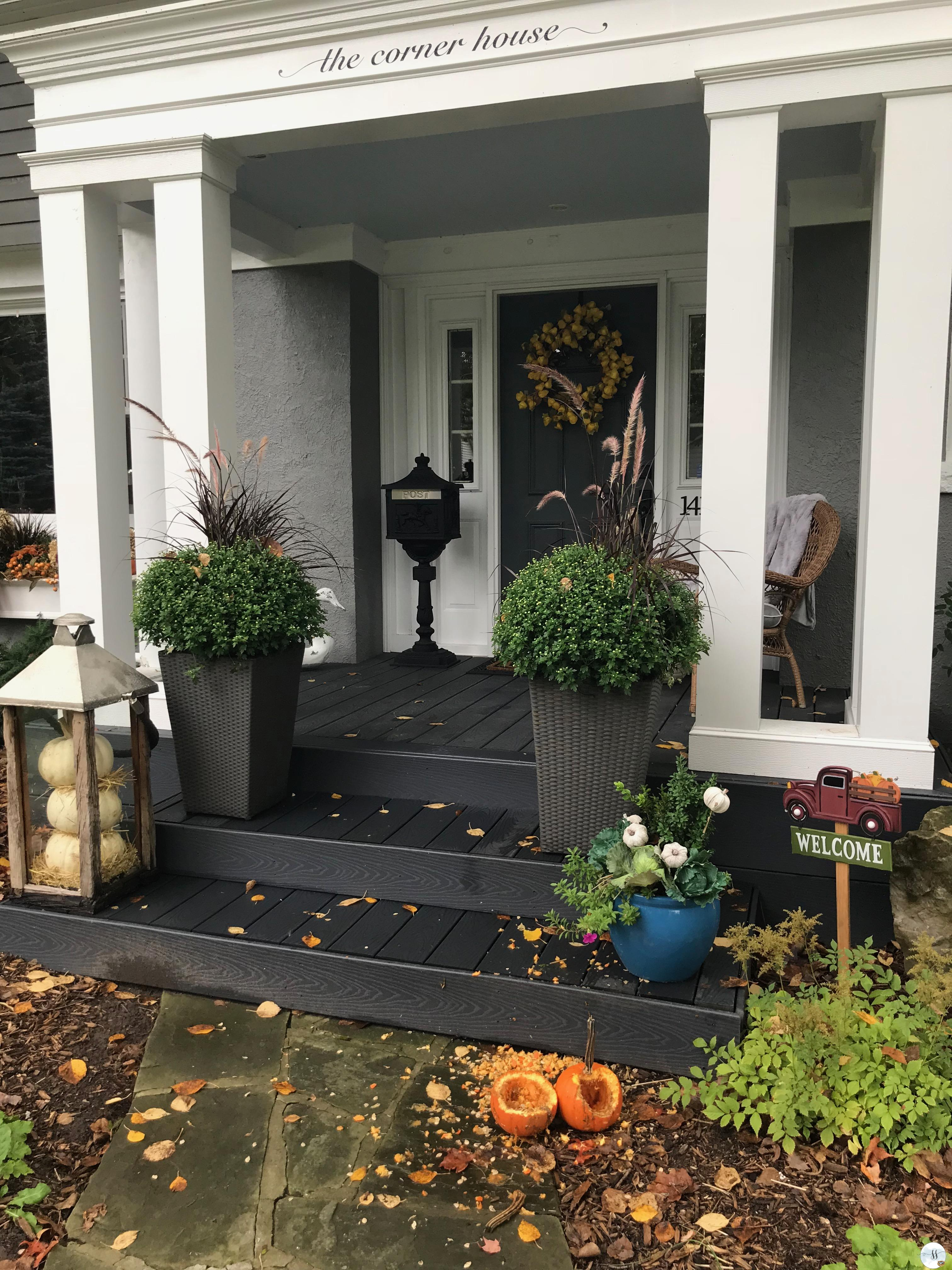 fall decor, better homes and garden, container gardens. window boxes.
