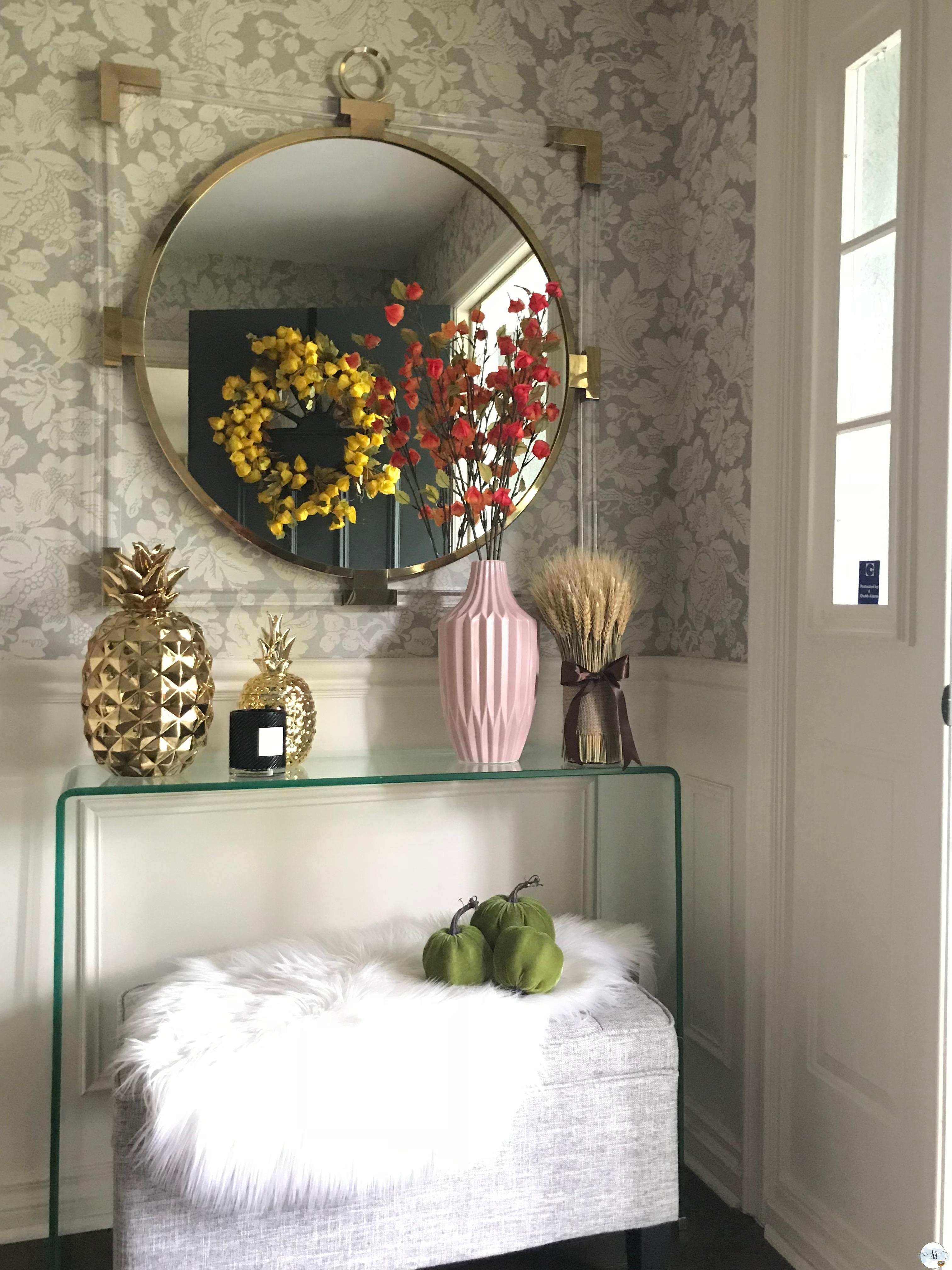 fall home decor, better homes and garden, fall entrance, fall side table