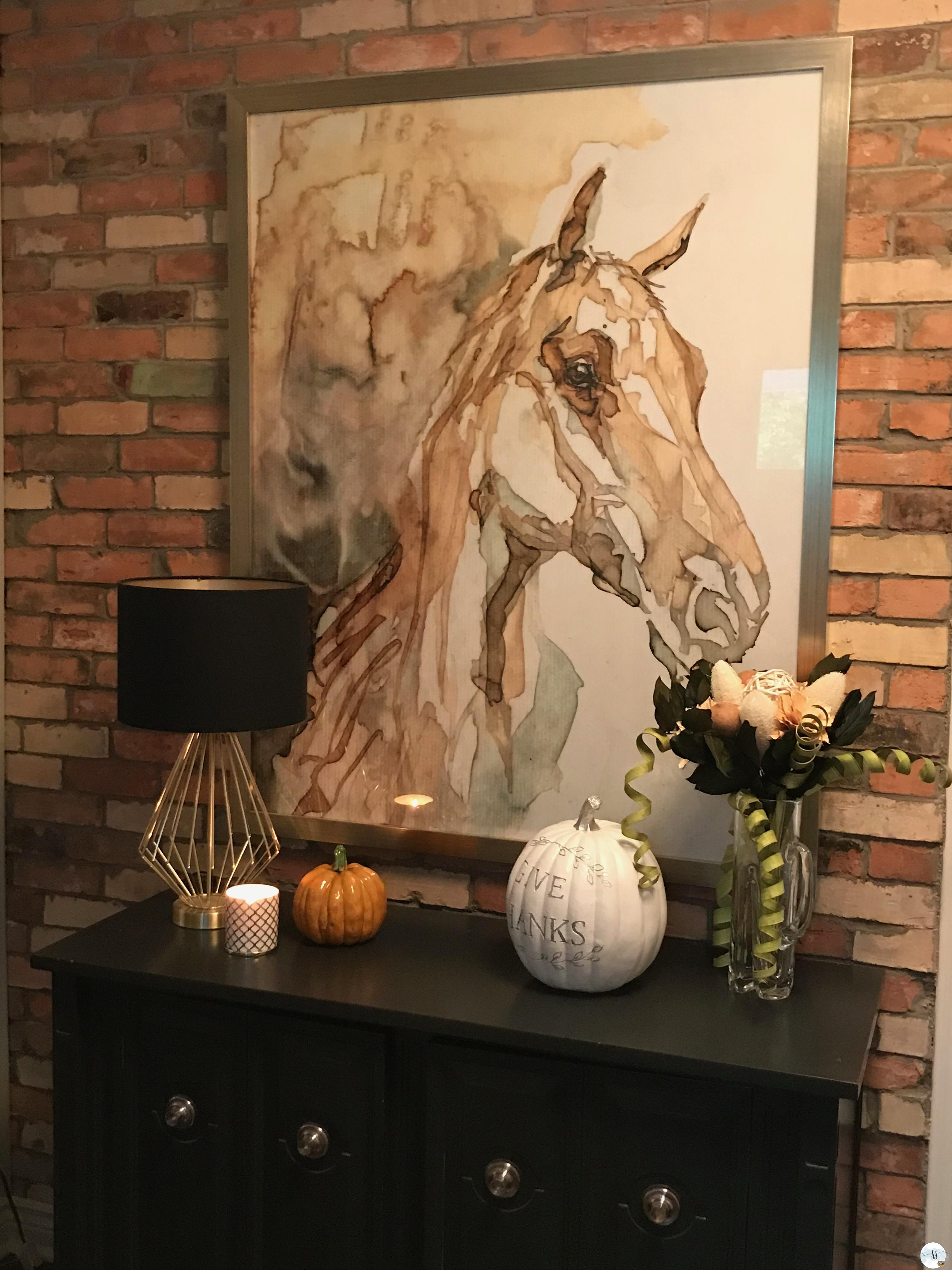 fall decor, better homes and gardens. exposed brick, horses,