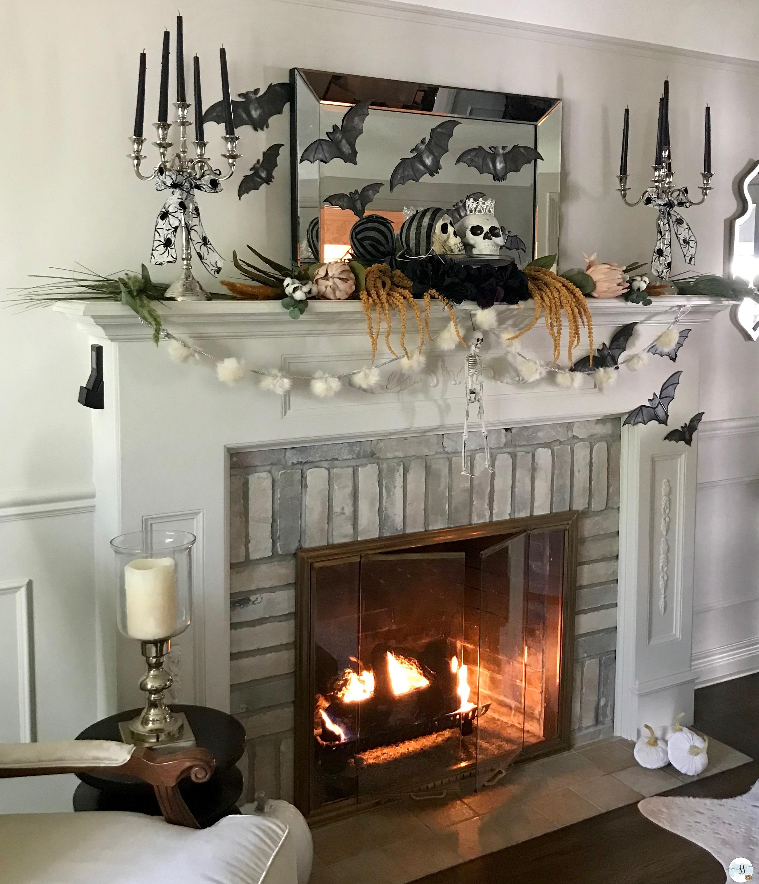 halloween fireplace mantel decor