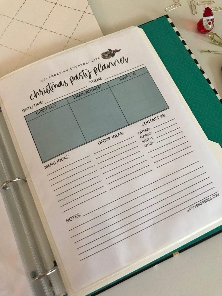 Christmas organization -Christmas printables - Christmas binder - Christmas party planner