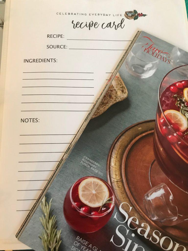 Christmas organization -Christmas printables - Christmas binder - Christmas recipes