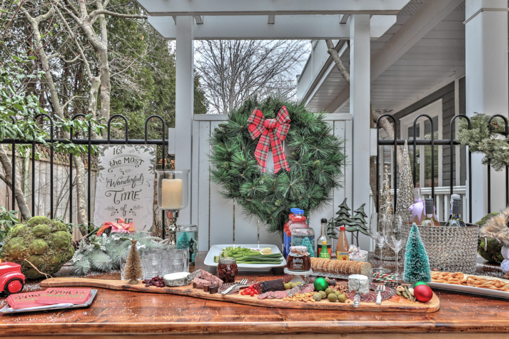 DIY winter wonderland decor at Christmas time. Charcuterie board makes nibbling easy.