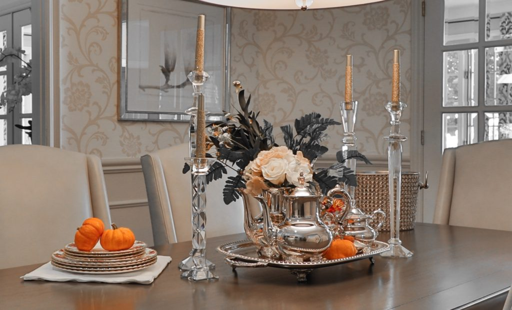 DIY fall floral arrangement in silver tea set