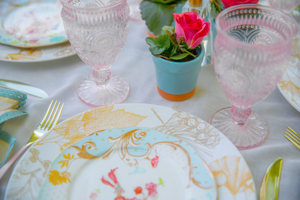 Pink and blue fall tablescape