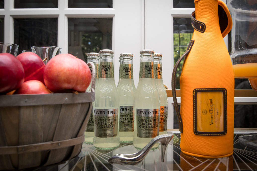 fall bar cart with champagne veuve clicquot recipe