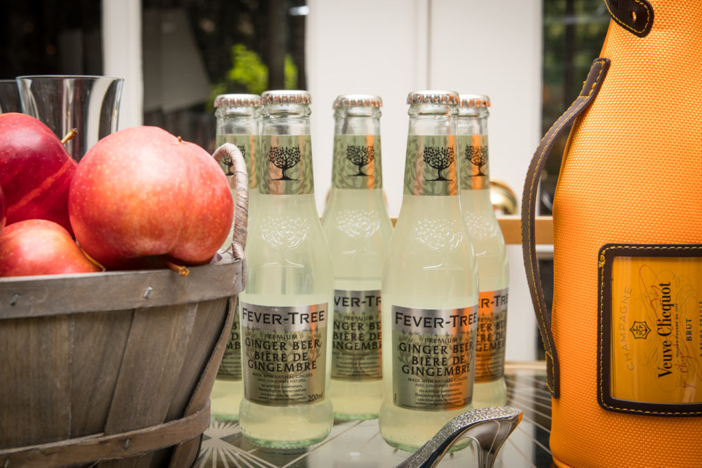fall bar cart with champagne veuve clicquot, ginger beer and apple cider recipe