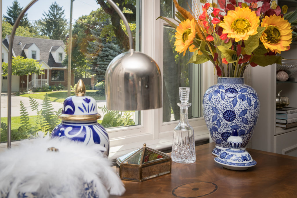 Fall florals in blue and white ginger jar